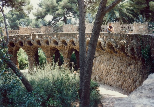Paths above supported by these columns in Guell Park