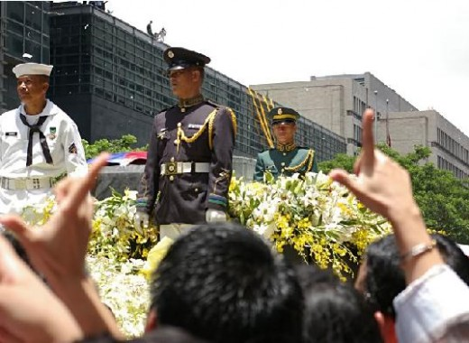 Three of the four honor guards that accompanied the late Philippine President in the flatbed truck were bestowed with honors and rewards.