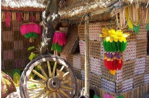 The colorful kipings that adorns houses in Lucban's Pahiyas Festival