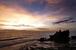 Sunset at Tanah Lot Temple Rock