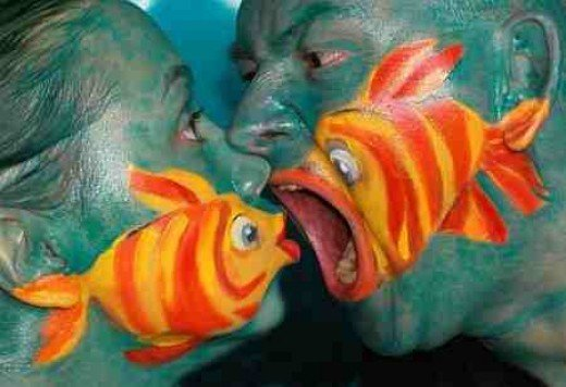 Fish is also rich in protein - man fish eating woman fish