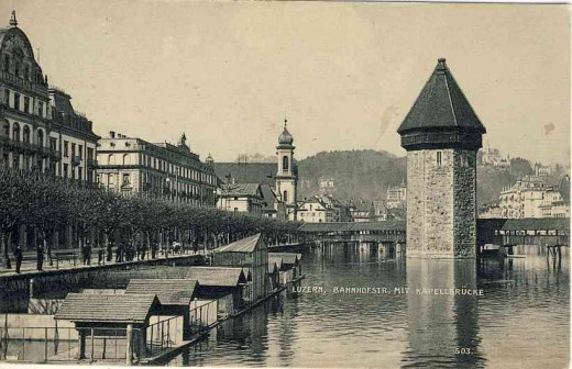 Chapel Bridge and Wassrturm postcard