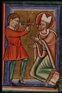 St Leodegar's martyrdom.From a picture French Bible (ca. 1200) depicting his eyes being pierced with a drill.Wikipedia