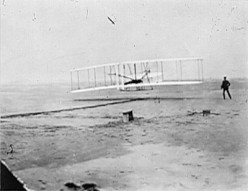After this famous first flight at Kitty Hawk, the Wright Brothers began to perform air demonstratons at places like Overland Park (1905) to help spur the airfield industry.