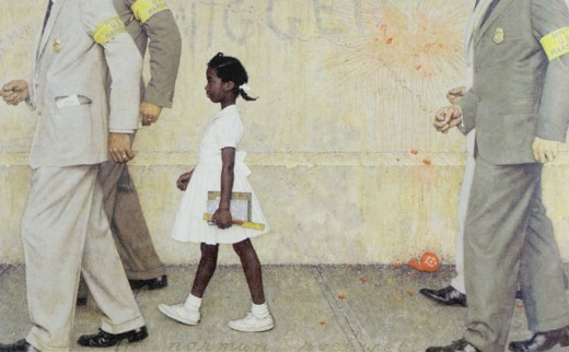 "Norman Perceval Rockwell (1894-1978) ""The Problem We All Live With"", 1963, Look, January 1964 Story Illustration Oil on Canvas 36 x 58 inches   Collection of the Norman Rockwell   Museum, Stockbridge Massachusetts"