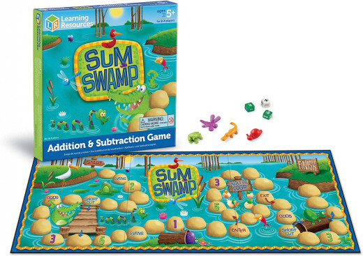 Sum Swamp is a board game that makes learning addition and subtraction fun