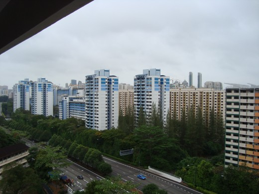 View from the top floor of an apartment building, St Georges, Singapore