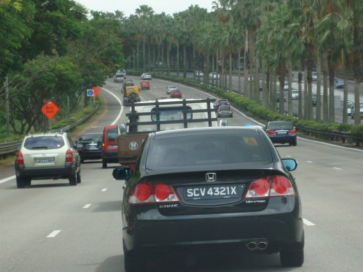 Traffic on the way to Woodlands, Singapore