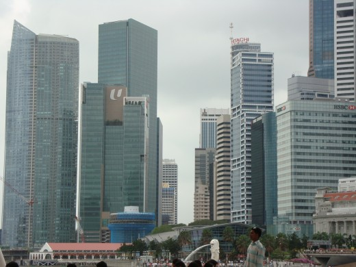 Skyscrapers at Marina, Singapore. You can see the Merlion in the distance