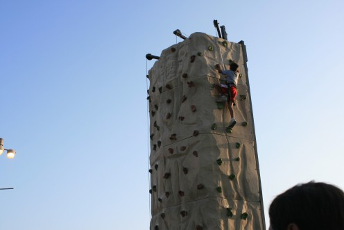 This young boy enjoyed the view of his young life after climbing the Rock Wall at the Ventura County Fair!