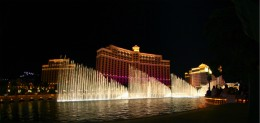The World Famous Water Show at the Bellagio at night