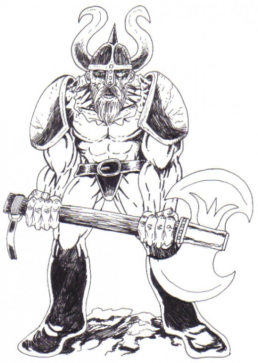 The warrior has been inked at this stage and it looks quite good. Warrior Inked Drawing by Wayne Tully Copyright  2010