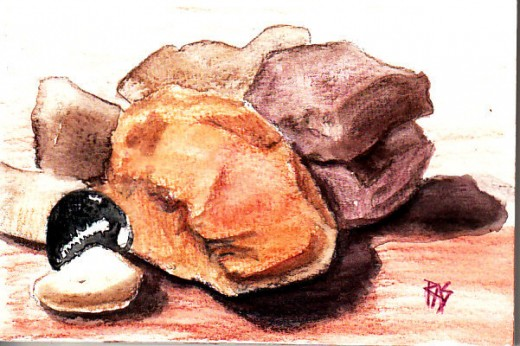 "Beach Stones, 4"" x 6"" in watercolor pencil on watercolor paper by Robert A. Sloan."