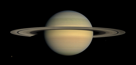 The planet Saturn taken from images from the Cassini space probe, 2008.