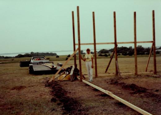 The pole barn in progress.