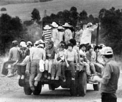 Most farmers will hire anyone willing to harvest their crops. But, as this photo shows, a crew of willing workers is primarily composed of Mexican immigrants.
