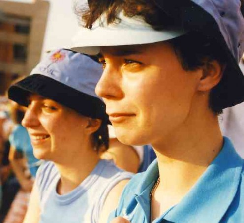 Tears of tension and relief after the Bulls won a hard-fought narrow victory. Catherine (left) and Susan showing the strain. Source Catherine McGregor