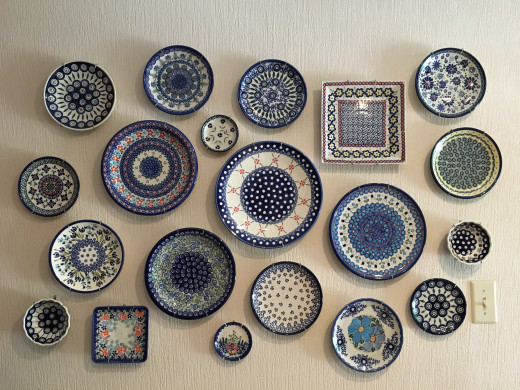 A wall design of Polish Pottery Plates