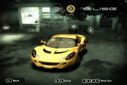 Yellow Lotus Elise, parked, from front
