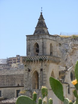 A church carved into the rock at Matera