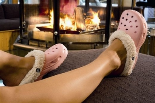 Faux-fur lined clogs make superlative home slippers!