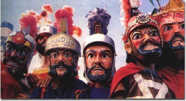 Participants in the Moriones Festival flashing their colorful costumes...