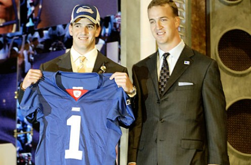 Eli Manning and brother Peyton Manning at the 2004 NFL Draft