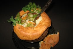 Chicken Soup With Vegetables, Cooked in Pots With a Flatbread Lid