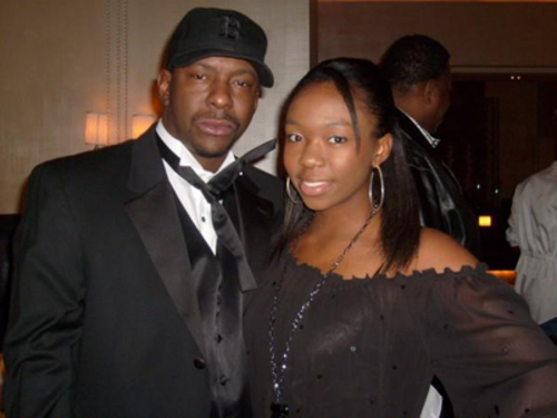 Oldest daughter Laprincia with her dad singer Bobby Brown
