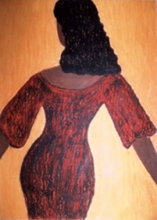 Oil Pastel, Female Figure Art by Injete Chesoni: Devil In A Red Dress
