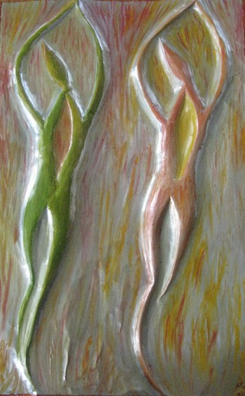 Abstract Metal Art Work by Injete Chesoni: Dancing Flames of Love