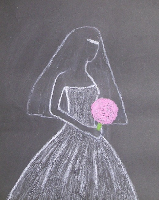 Art Work by Injete Chesoni: Oil Pastel, Bride Illustration