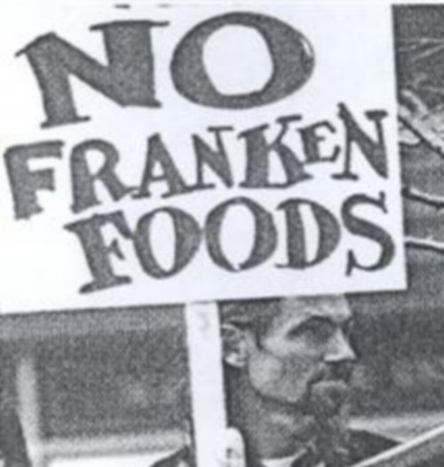 Demonstration against Frankenfoods placard