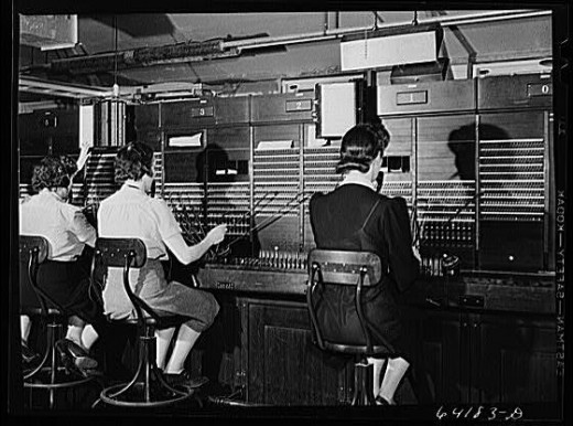 """Number Please""  - Depression Era photo of telephone operators - this technology was relatively unchanged into the 1960s or later.  Photo Credit:   Library of Congress, Prints & Photographs Division, FSA-OWI Collection, [reproduction number, e.g., LC"