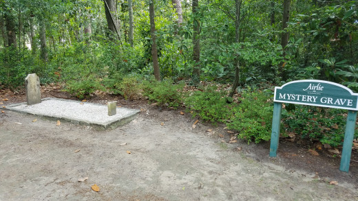 """The """"Mystery Grave"""" at Airlie Gardens."""