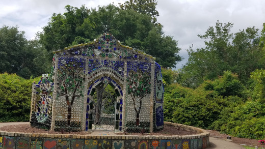 """The """"Bottle Chapel"""" is a very unique construction at Airlie Gardens."""
