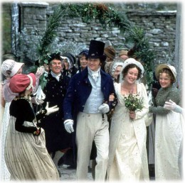 Elizabeth and Mr. Darcy's wedding in the BBC version of Pride and Prejudice.