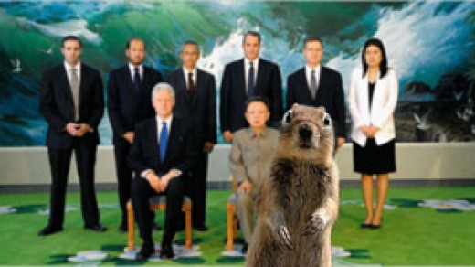 Yes that crazy crasher squirrel recently showed up in North Korea when President Clinton met with the North Korea President. What will the crasher Squirrel do next.