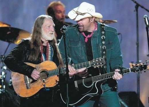 "Toby Keith joins country legend Willie Nelson for the duet, ""Beer for my Horses."""