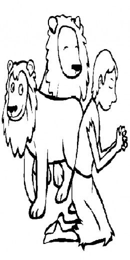 Bible Sunday School Stories Kids Coloring Pages with Free Colouring Pictures to Print - Daniel & the Lions Den