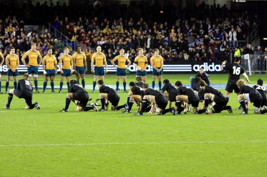 The mighty All Blacks perfoming the Haka, a traditional Maori war dance, before they play Australia.