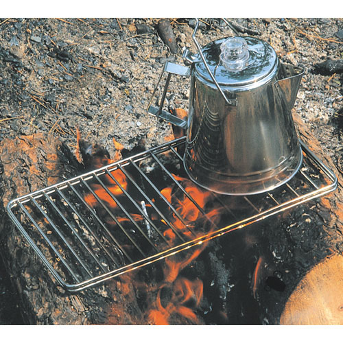 Cooking over flames was made easier by the use of a metal grate.