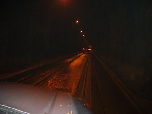 Its dark driving through the tunnel