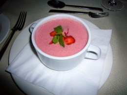 Yes Cantaloupe Strawberry Soup. Its oh so delicious and so good for you.