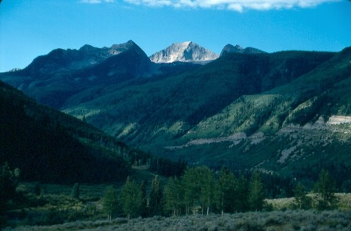 McClure Pass in western Colorado.  Chair Mountain (12,700') is the high peak in the center of the photo.