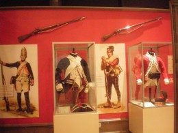 Uniforms worn during the American Revolution.