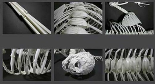 Skeleton made from detail of the photo: plastic cutlery by Laura Bowman, Jamie Breach, Ashley Maine, Elliott Mariess and Lewis Woolner of Kingston.