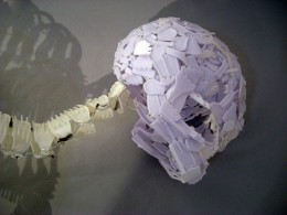 Skeleton made from plastic cutlery by Laura Bowman, Jamie Breach, Ashley Maine, Elliott Mariess and Lewis Woolner of Kingston