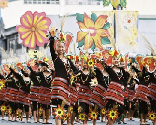 The Panagbenga street dancers flashing their colorful costumes with grace.