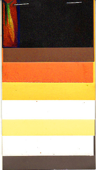 Eight color sampler of PastelMat available from DakotaPastels.com with some colored pencils tests on the black top sheet.